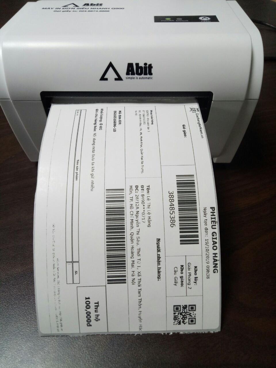 In vận đơn của Viettelpost, VNPOST, GHTK,GHN,SuperShip trên máy in Abit Q900