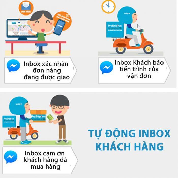 Inbox báo khách tiến trình đơn hàng
