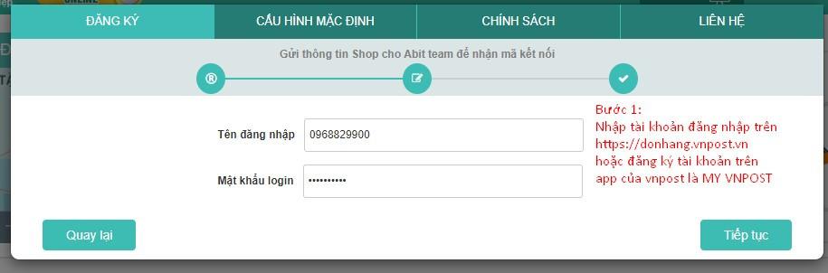 Cấu hình kết nối đồng bộ đơn hàng sang VNPOST từ Abitstore.vn