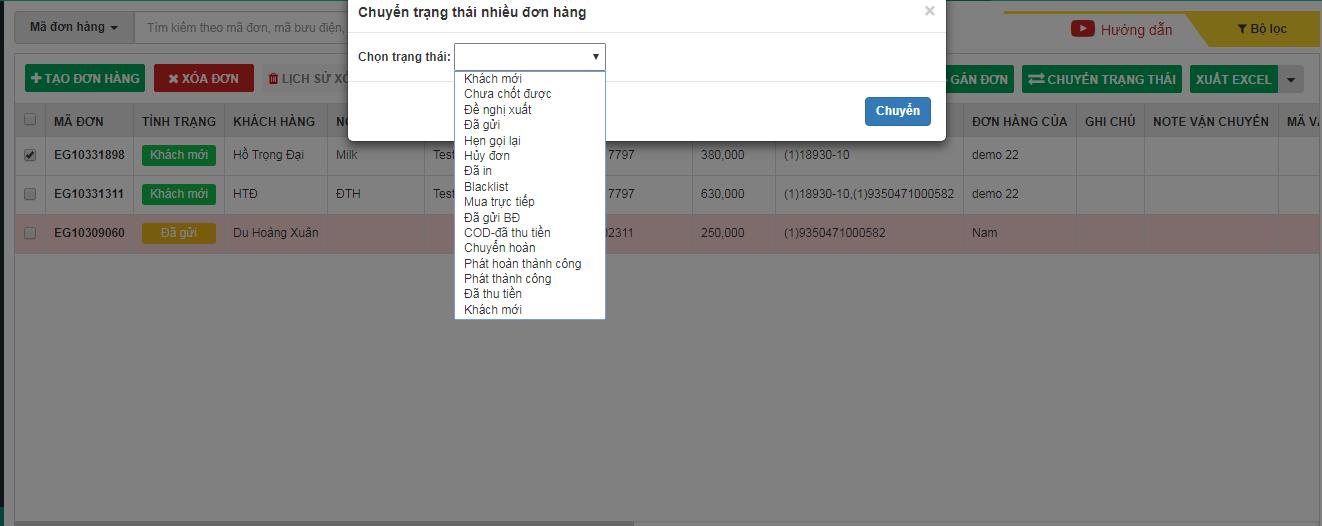 Inbox khách tiến trình trả lời đơn hàng