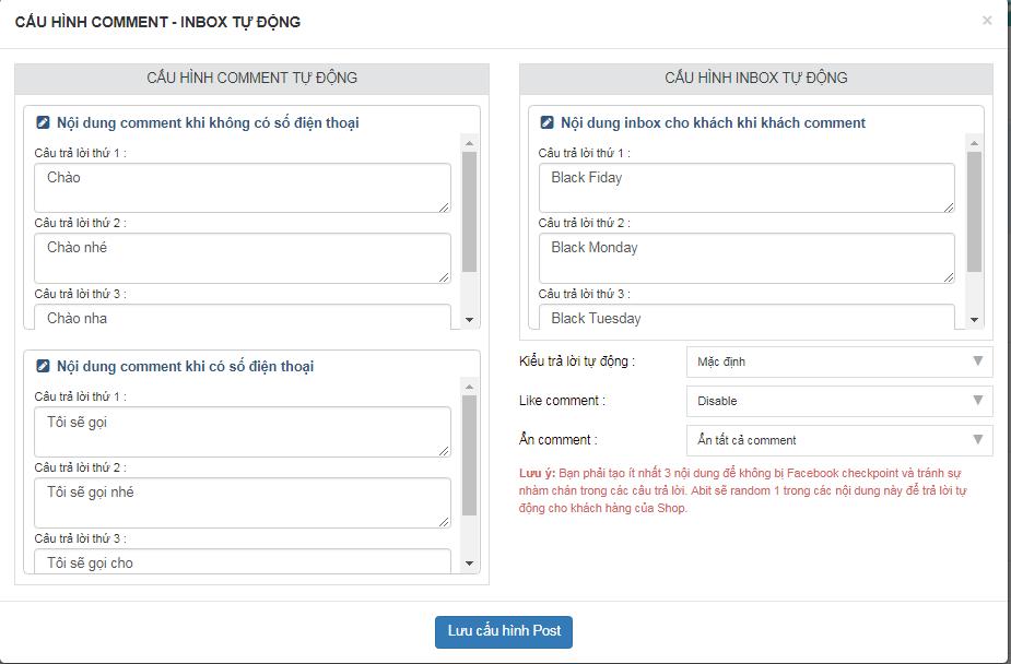 Cấu hình trả lời inbox tự động theo kịch bản