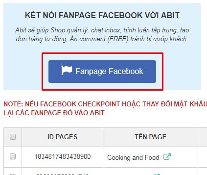 Kết nối fanpage facebook với abitstore