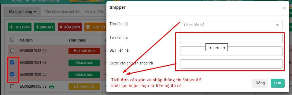 Gán đơn hàng cho Shipper